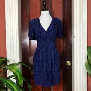 Walter blue lace and silk dress with pockets